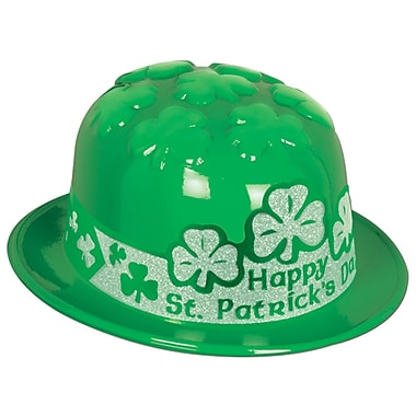 Beistle Plastic St Patrick's Day Shamrock Derby with Glittered Band, One Size Fits Most, 25/Pack