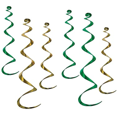 Beistle Twirly Whirlys, Green And Gold, 24