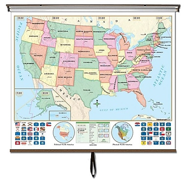 Universal Map Us World Beginner Combo Classroom Wall Map On Roller