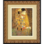 "Amanti Art Gustav Klimt ""The Kiss (Le Baiser/Il Baccio), 1907"" Framed Print Art, 17.12"" x 14.12"""