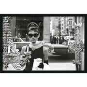 "Amanti Art ""Audrey Hepburn, Breakfast at Tiffany's (Window)"" Framed Print Art, 25.38"" x 37.38"""