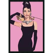 "Amanti Art ""Audrey Hepburn - Pink"" Framed Print Art, 37.38"" x 25.38"""