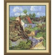"Amanti Art Vincent Van Gogh ""Houses at Auvers, 1890"" Framed Print Art, 30.12"" x 26.12"""