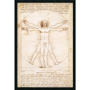"Amanti Art Leonardo Da Vinci ""Proportions of the Human Figure"" Framed Print Art, 37.38"" x 25.38"""