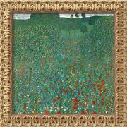 "Amanti Art Gustav Klimt ""Field Of Poppies (Campo di Papaveri)"" Framed Canvas Art, 19 1/2"" x 19 1/2"""