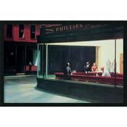 "Amanti Art Edward Hopper ""Nighthawks, 1942"" Framed Art, 25.38"" x 37.38"""