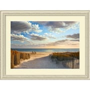 "Amanti Art Daniel Pollera ""Sunset Beach"" Framed Print Art, 33.88"" x 44.38"""