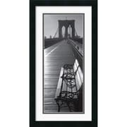 "Amanti Art ""Brooklyn Bridge Benches"" Framed Print Art, 26"" x 14"""