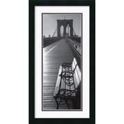 "Amanti Art ""Brooklyn Bridge Benches"" Framed Print Art, 26"" x 14"""