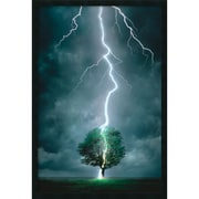 "Amanti Art ""Lightning Striking Tree"" Framed Print Art, 37.38"" x 25.38"""