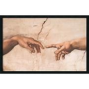 "Amanti Art Michelangelo Buonarroti ""The Creation of Adam (Detail I)"" Framed Art, 25.38"" x 37.38"""