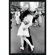 "Amanti Art Alfred Eisenstaedt ""Kissing on VJ Day - Times Square"" Framed Art, 37.38"" x 25.38"""