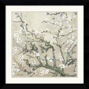 "Amanti Art Vincent Van Gogh ""Almond Branches in Tan"" Framed Print Art, 26.62"" x 26.62"""