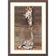 "Amanti Art Ron D'Raine ""Makulu - Giraffe First Kiss"" Framed Animal Art, 38 1/4"" x 26 1/4"""