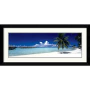 "Amanti Art ""Tropical Beach (Panel)"" Framed Print Art, 19.62"" x 42.62"""