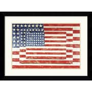 """Amanti Art Jasper Johns """"Three Flags"""" Framed Print Art, 24.62"""" x 32.62"""""""