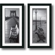 "Amanti Art ""Benches"" Framed Print Art Set, 26"" x 14"""