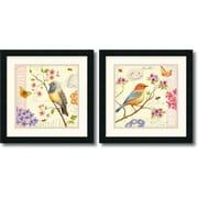 "Amanti Art Daphne Brissonnet ""Birds and Bees"" Framed Print Art Set, 18"" x 18"""
