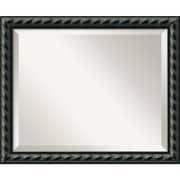 "Amanti Art 22.62"" x 18.62"" Pequot Medium Wall Mirror, Black"