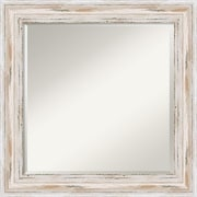 "Amanti Art 25.12"" x 25.12"" Alexandria Square Wall Mirror, Distressed Whitewash"