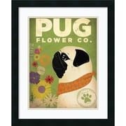 "Amanti Art Stephen Fowler ""Pug Flower Co."" Framed Animal Art, 22"" x 18"""