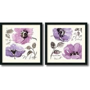 "Amanti Art Pela Studio ""Floral Waltz Plum"" Framed Print Art Set, 24"" x 24"""