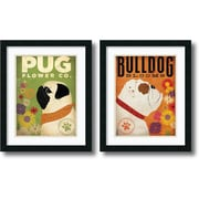 "Amanti Art Stephen Fowler ""Pug & Bulldog Florals"" Framed Animal Art Set, 22"" x 18"""