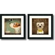 "Amanti Art Stephen Fowler ""Coffee Dogs"" Framed Animal Art Set, 18"" x 18"""