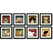 "Amanti Art Stephen Fowler ""Stephen Fowler Dogs"" Framed Animal Art Set, 18"" x 18"""