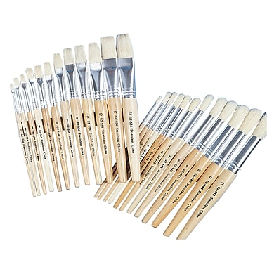 S&S® White Bristle School Brush, 24/Set