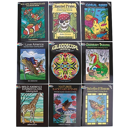 S&S BK1652 Multicolor Stained Glass Coloring Book, 9/Pack