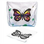 S&S® Color-Me Drawstring Bag With Velvet Art Butterfly, 12/Pack