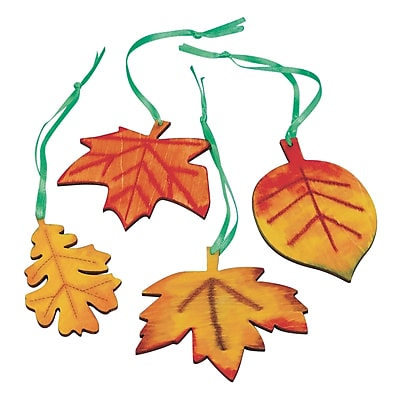 Geeperz™ Wood Leaves Craft Kit, 48/Pack