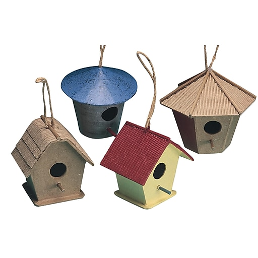 S&S® Paper Mache Mini Birdhouses, 12/Pack