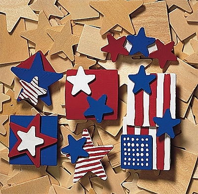 Geeperz™ Patriotic Wood Pins Craft Kit, 48/Pack