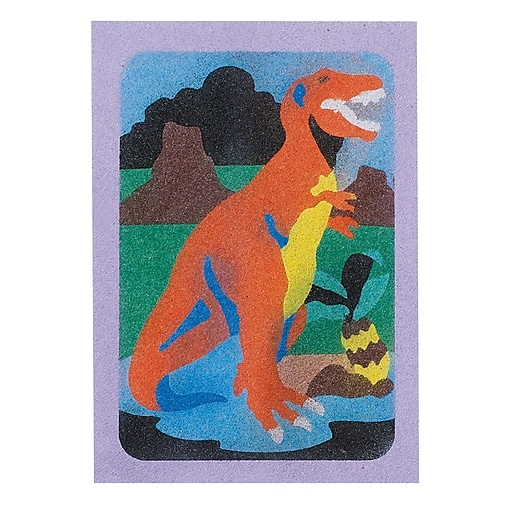 """S&S® 5"""" X 7"""" Dinosaurs Sand Art Board, 12/Pack"""