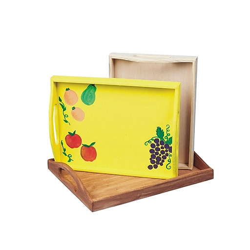 S&S® Unfinished Wooden Tray], 3/Set