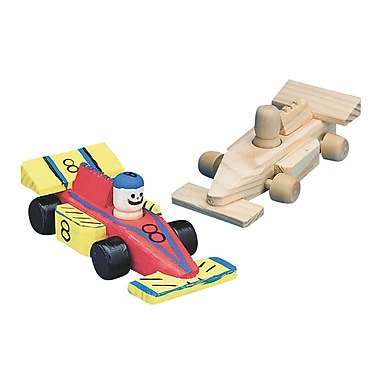S&S® Unfinished Mini Wood Race Car, 12/Pack