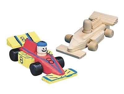 S&S® Unfinished Mini Wood Race Car, 12/Pack