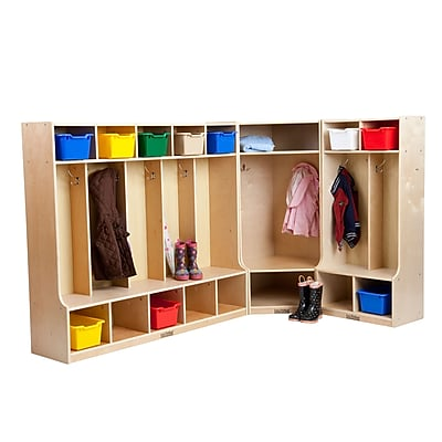 ECR4Kids® 2, 5 and Corner Section Birch Coat Lockers With Bench Set