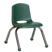 "ECR4Kids® 10""(H) Plastic Stack Chair With Chrome Legs & Ball Glides, Hunter Green"