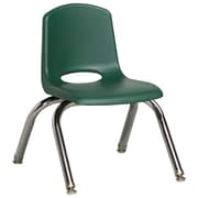 "ECR4Kids® 10""(H) Plastic Stack Chair With Chrome Legs & Nylon Swivel Glides, Hunter Green"