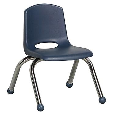 ECR4KidsMD – Chaise empilable en plastique de 10 po de haut avec pattes chromées et glisseurs en boule, bleu marine, paq./6