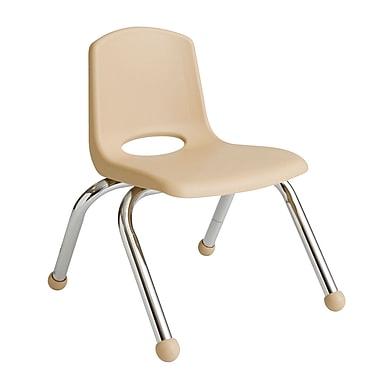 ECR4KidsMD – Chaise empilable en plastique de 10 po de haut avec pattes chromées et glisseurs en boule, sable, paq./6