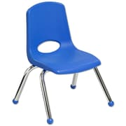 "ECR4Kids® 12""(H) Plastic Stack Chair with Chrome Legs & Ball Glides, 6/Pack"