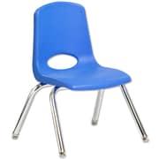 "ECR4Kids® 12""(H) Plastic Stack Chair With Chrome Legs & Nylon Swivel Glides, Blue"