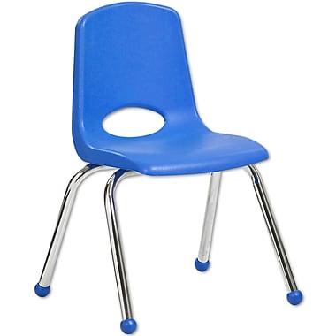 ECR4KidsMD – Chaise empilable en plastique de 14 po de haut avec pattes chromées et glisseurs en boule, bleue, paq./6