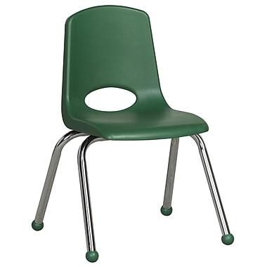ECR4KidsMD – Chaise empilable en plastique de 14 po de haut avec pattes chromées et glisseurs en boule, verte, paq./6