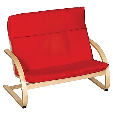 ECR4Kids® Bentwood Double Seat Comfort Chair, Red/Natural