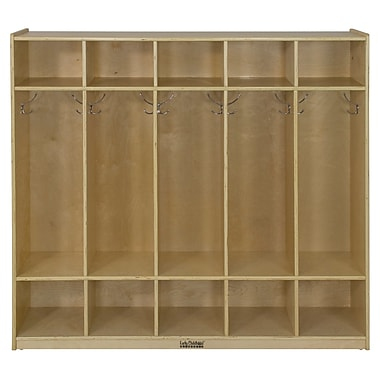 ECR4Kids® 5 Section Straight Coat Locker, Natural